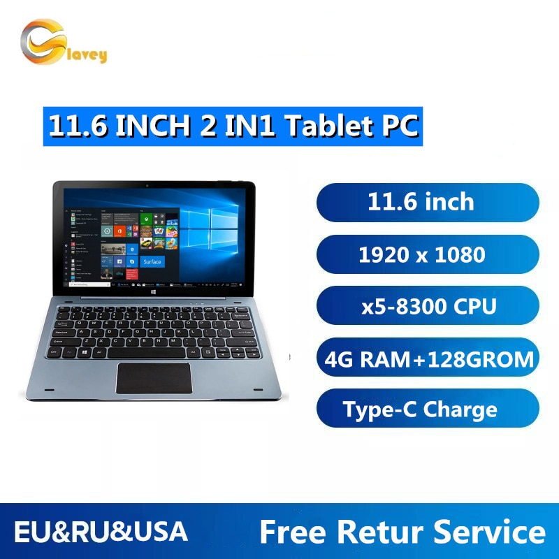 11.6'' Windows 10 Tablet PC 4GB DDR+128GB NC01 CPU 8300 With Pin Docking Keyboard 1920 x1080 IPS HDMI-Compatible Dual Cameras