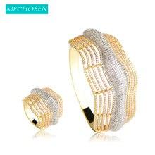 MECHOSEN Funkelnden Zirkonia Hochzeit Schmuck-Sets Für Frauen Multilayer Gold Farbe Kristall Große Armband Armreif Ring Anillo