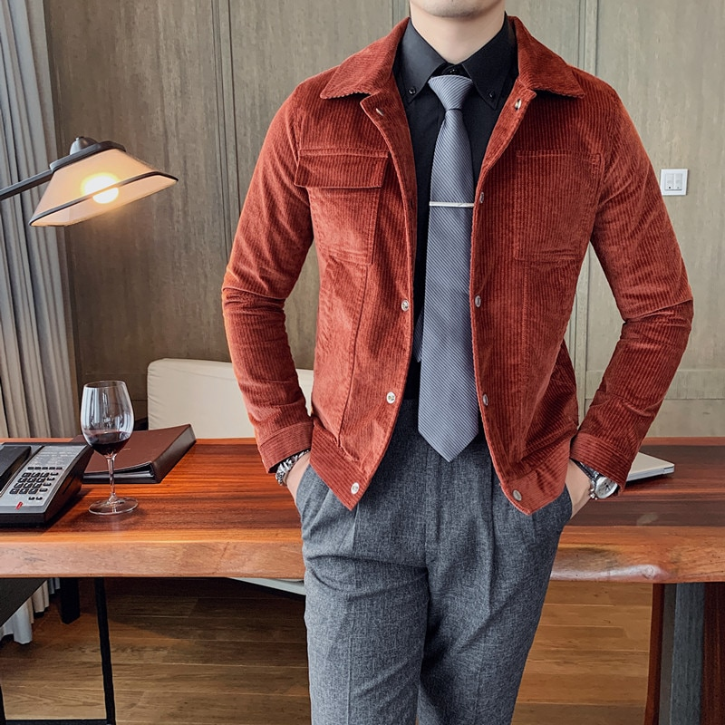 النمط البريطاني الخريف الشتاء سروال قصير غير رسمي جاكيتات الرجال الملابس 2021 كم طويل سليم صالح رفض طوق معاطف بسيطة 3XL-M