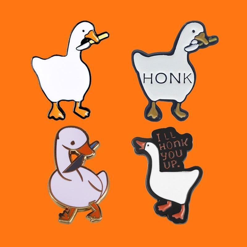 Honk émail broches sans titre canard Crime oie métal dessin animé broche sac à dos chapeau sac collier revers insignes femmes mode bijoux cadeaux