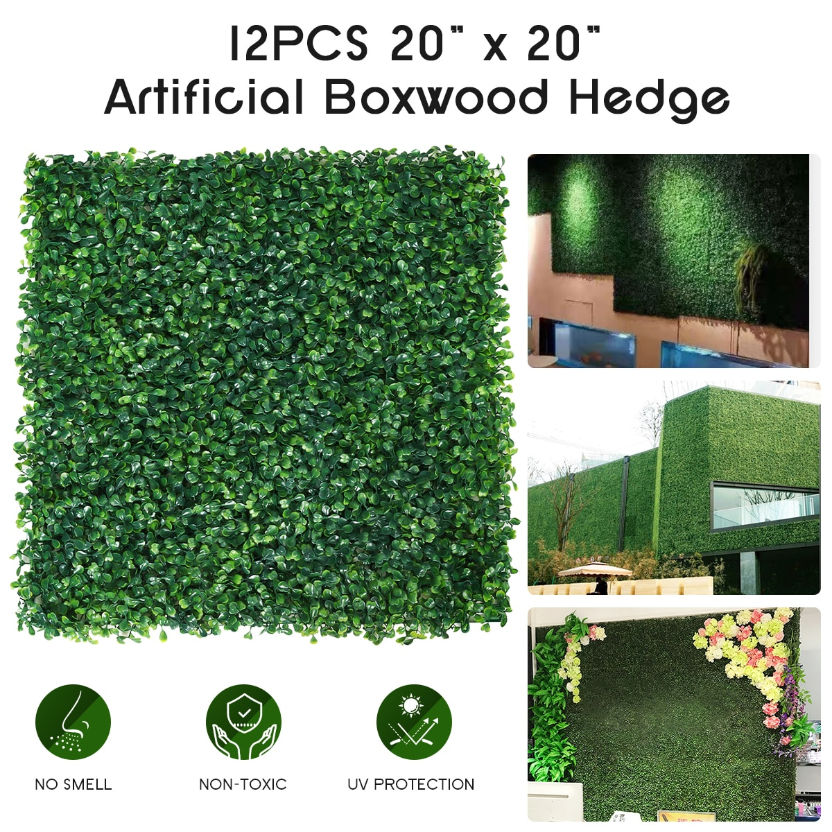 12PCS 20X20 Inch Artificial Boxwood Hedge Wall Panels Topiary Grass Wall Privacy Screen UV Protected Grass Wall Backdrop