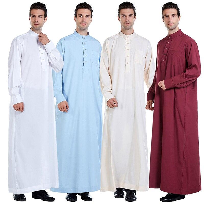 Abaya Muslim Dress Pakistan Islamic Clothing Mens Arab Robe Saudi Arabia Jubba Thobe Kleding Mannen Kaftan Oman Qamis Homme