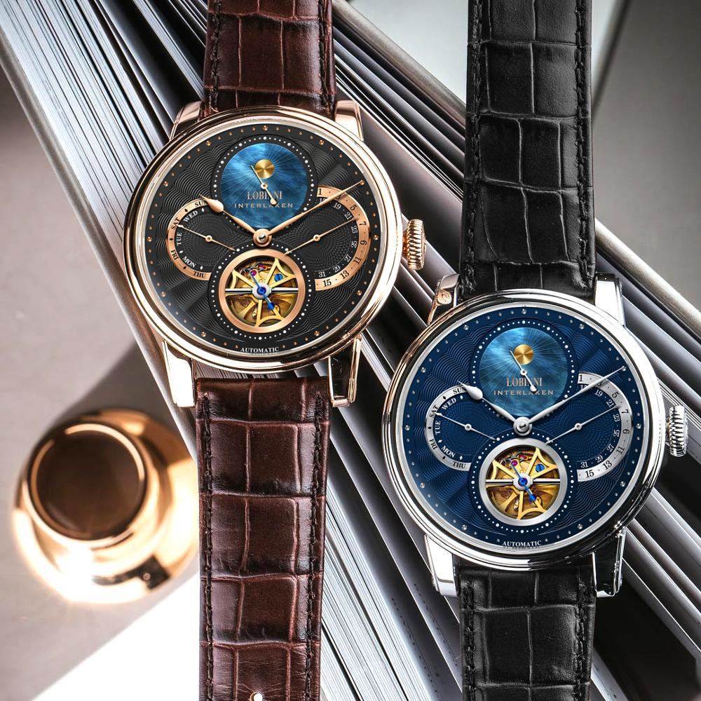 Reloj LOBINNI Rome dial para hombre 2019, reloj masculino, engranaje automático, marcas mecánicas, reloj de pulsera de acero orologio