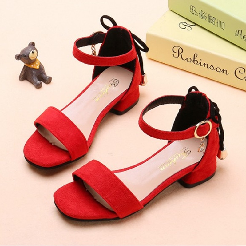 Summer Kids Shoes For Girls Fashion high heel sandals Girl Princess Shoes Kids Sandals chaussure fille 4 5 6 7 8 9-16T Black Red