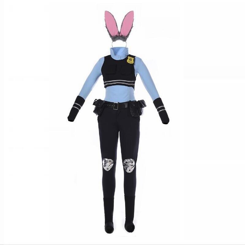 Anime Zootopia ropa de dibujos animados Judy Rabbit Judy policía mujer uniforme traje ropa Halloween adulto mujer Cosplay disfraz