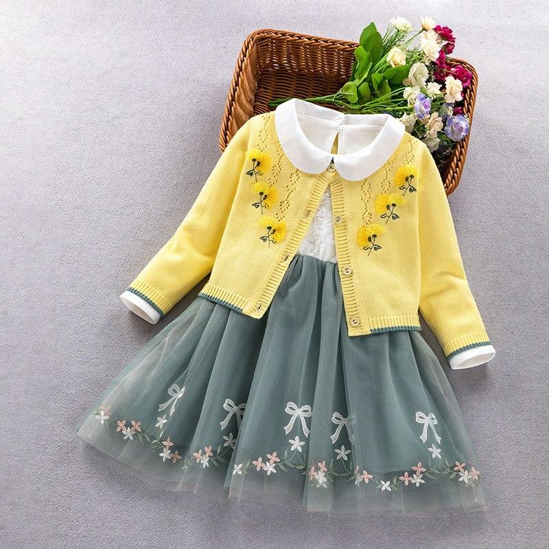 طفلة الأميرة الملابس مجموعة 2020 الخريف الشتاء فتاة صغيرة طويلة الأكمام سترة معطف فستان قطعتين مجموعة طفل أطقم ملابس للفتيات