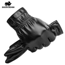 Gants chauds dhiver pour hommes   DENIM cuir synthétique en polyuréthane pour hommes, gants noirs à écran tactile de plein air pour hommes, marque à la mode, gants chauds dhiver S022