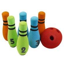 Funny Hand Eye Coordination Entertainment Toy Home Garden Preschool Play Games Kids Bowling Set Six Pin NBR Foam Gift Soft