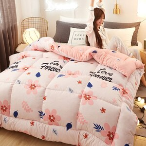 Winter thicken comforter Pure color thicken duvet with stuffing patchwork quilt 4 Colors Choose warm winter bed cover 220*240CM