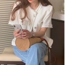 CMAZ 2021 Summer Woman Pocket Cotton Shirt Fashion Ladies Short Sleeve Blouse Coat Female Office Kor