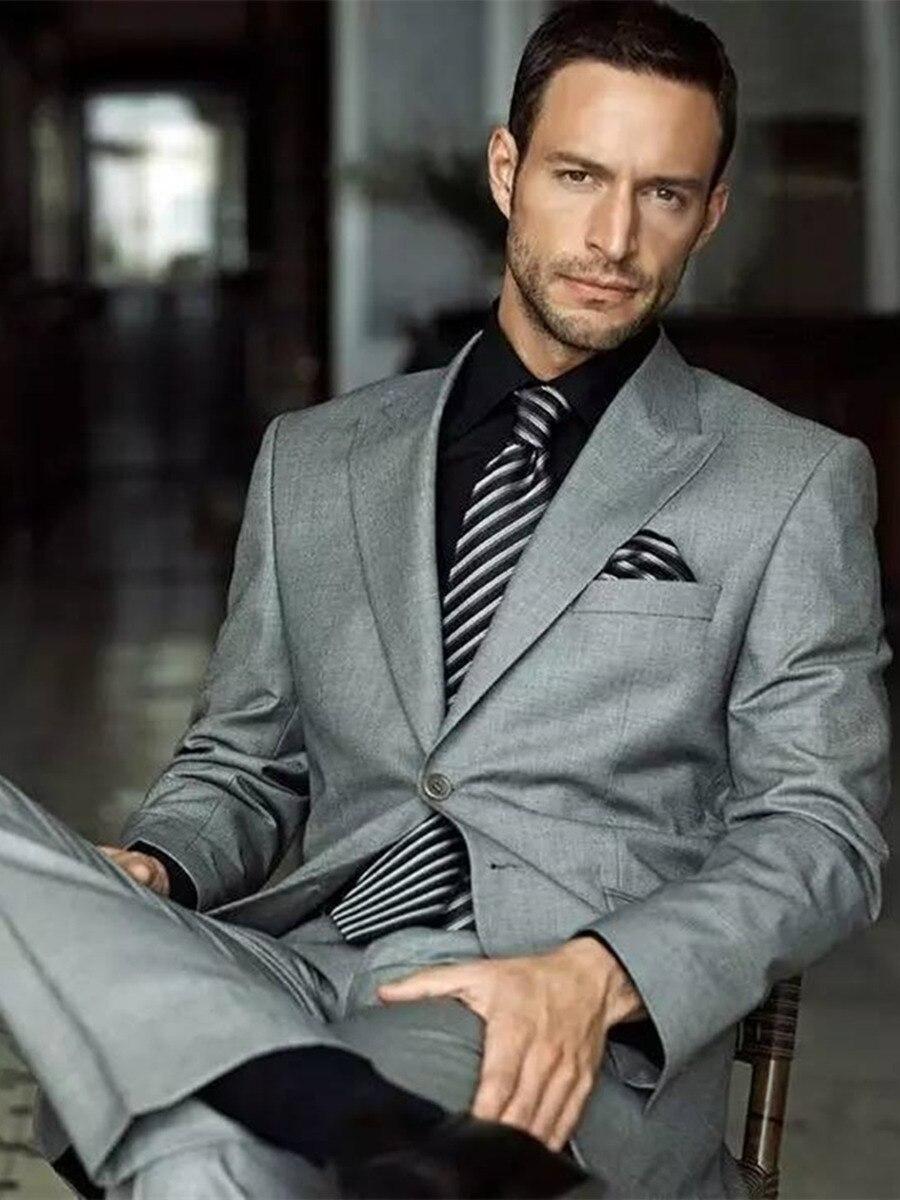 Handsome Two Buttons Groomsmen  Peak Lapel Groom Tuxedos  Men Suits Wedding/Prom/Dinner Best Blazer(Jacket+Pants+Tie) 079