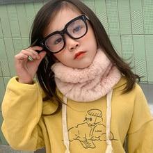 Winter Real Rex Rabbit Fur Headband With Elastic for Girls Child Neck Warm Fluffy Fashion Accessory