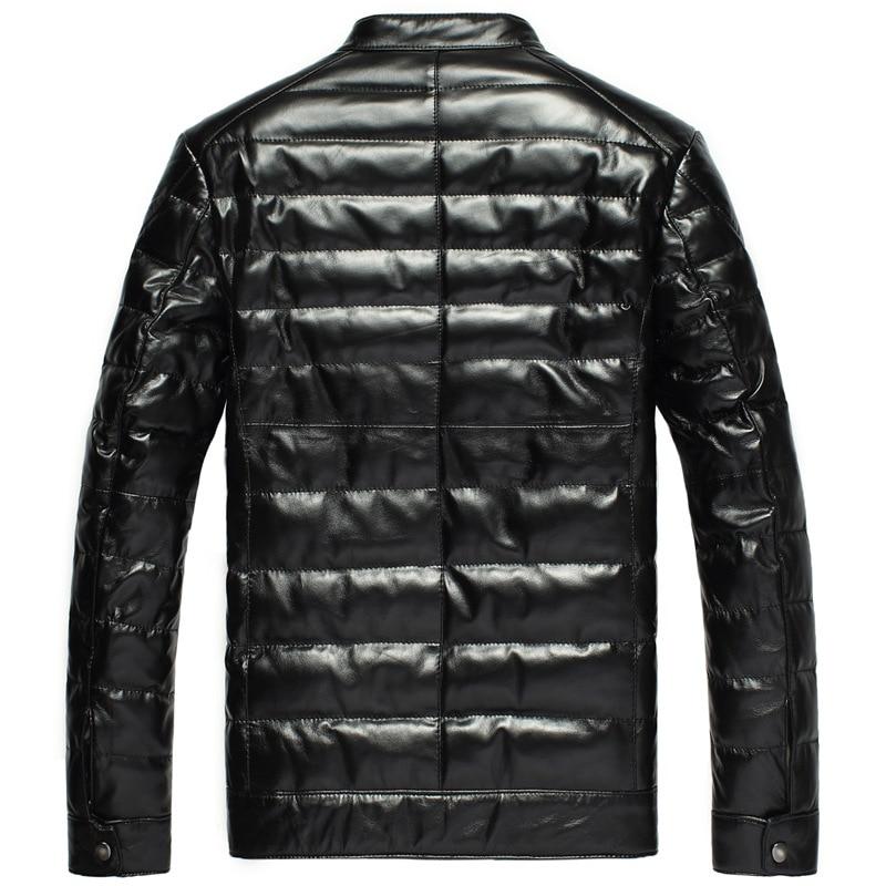 Leather Men's Jacket Winter Sheepskin Coat Men Genuine Leather Jacket Stand Collar Warm Down Jackets DK033 YY281