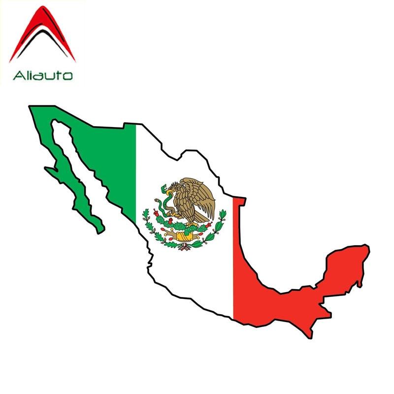 Pegatina reflectante de la bandera mexicana de Aliauto, pegatina de decoración del mapa del país, accesorios para Mercedes motocicleta Honda,15cm * 5cm
