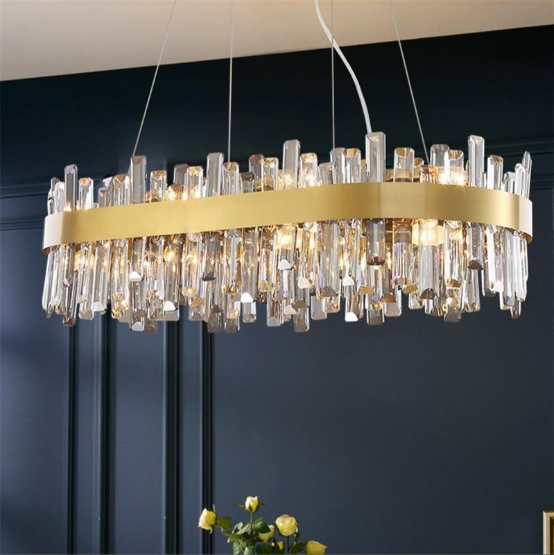 Nordic Led Crystal Chandelier for Living Room Kitchen Luxury Villa Pendant Light Gold/ Chrome Polished Steel Design Home Decore