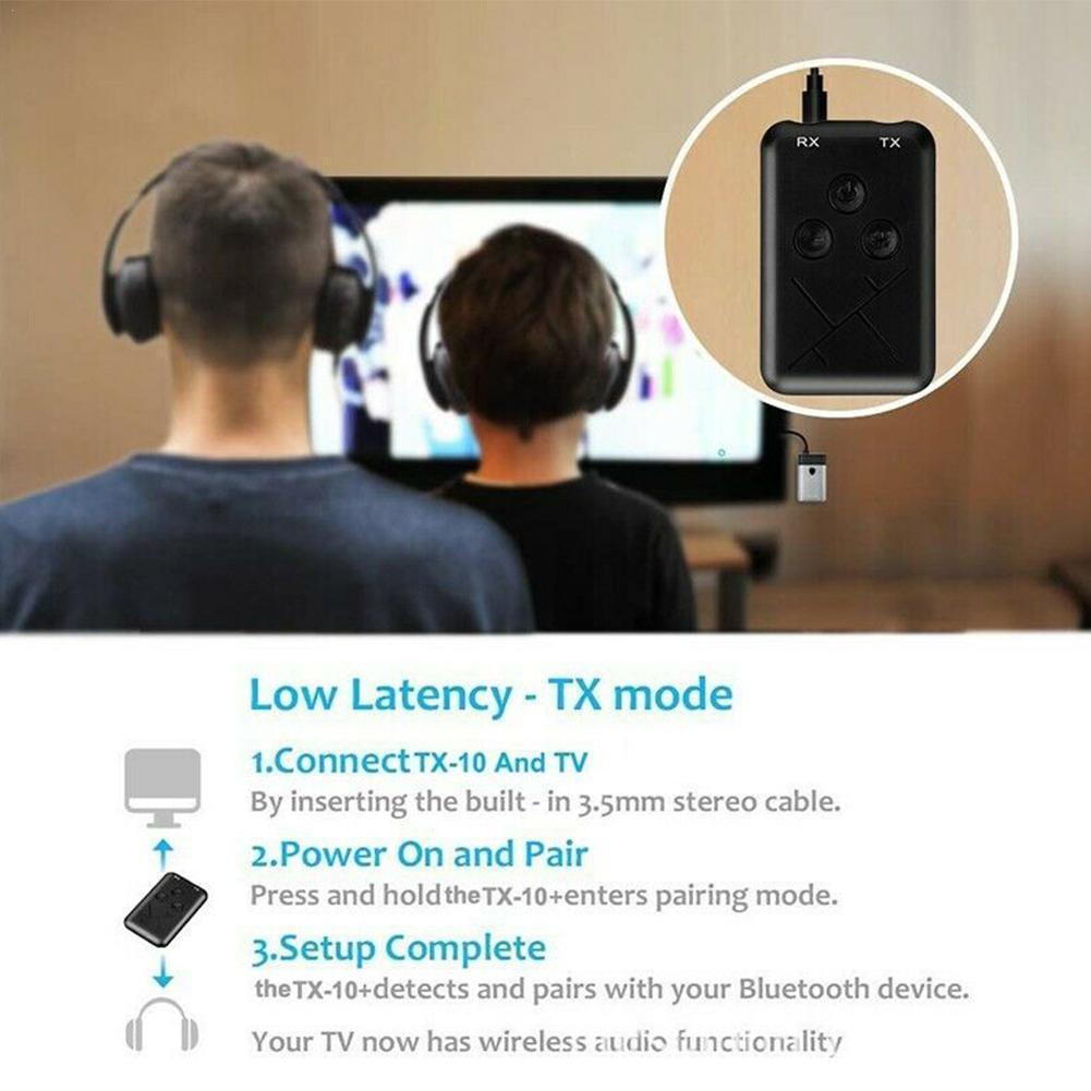 2 in 1 Bluetooth 5.0 Transmitter Receiver TV PC Car 3.5mm Stereo Music Speaker Audio Adapter/Headphones Hifi Car/Home Devic H4K4