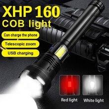 Súper XHP160 potente linterna LED linterna linterna táctica de carga 18650XHP90USB linterna líder antorcha lámpara de caza