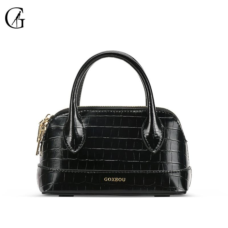 GOXEOU-حقيبة يد نسائية بنمط تمساح ، حقيبة كتف ، صناعة يدوية ، إصدار محدود