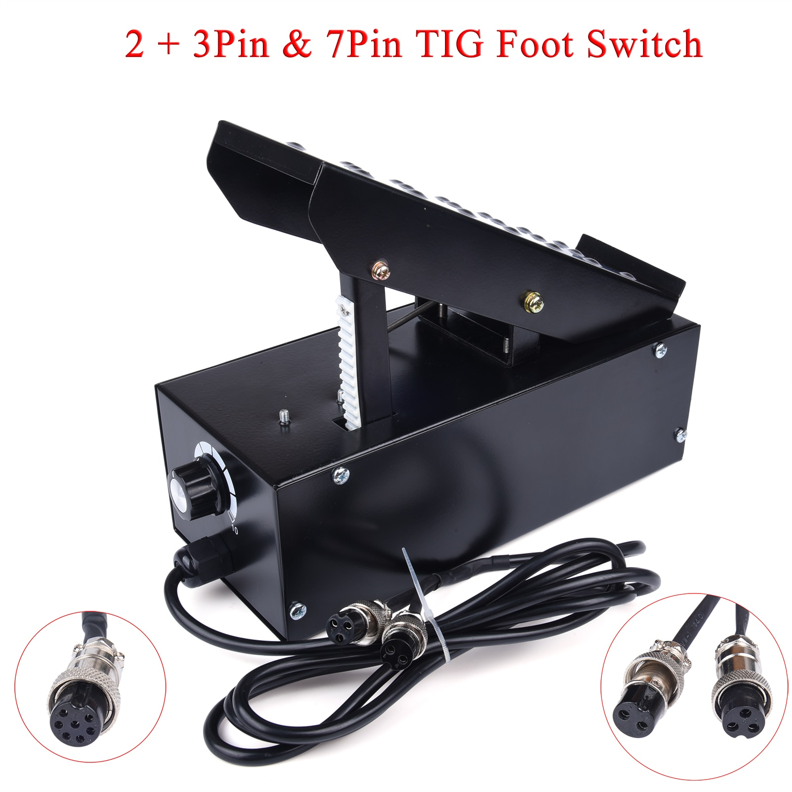 extra micro switch free your hand metal foot pedal foot switch 1 8 meters cable 2 pins connector spot welding switch tig torch 2+3/7 Pins Foot Pedal Power Amperage Controller Current Stepless Adjustable Switch For TIG ATGW Spot Weldding IGBT Machine