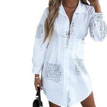 Women's Button Down Shirt Dress, Casual Long Sleeve V Neck Blouse Mini Shirt Dress