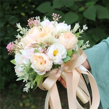 Lovegrace Wedding Flower Bouquet Artificial Silk Peony 18 Heads Champagne Bouquet Flower Bridal Bridesmaids Wedding Bouquets