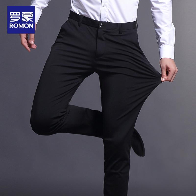 Casual Pants Men's Fall Slim Fit Stretch Long Skinny Pants Korean Business Men's Straight Cargo Suit Pants Fashion