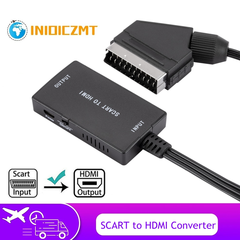 INIOICZMT-Convertidor SCART a HDMI, Con Cable DE Salida HDMI HD 720P/1080P, Interruptor Adaptador, Convertidor DE Audio y Vídeo Para HDTV