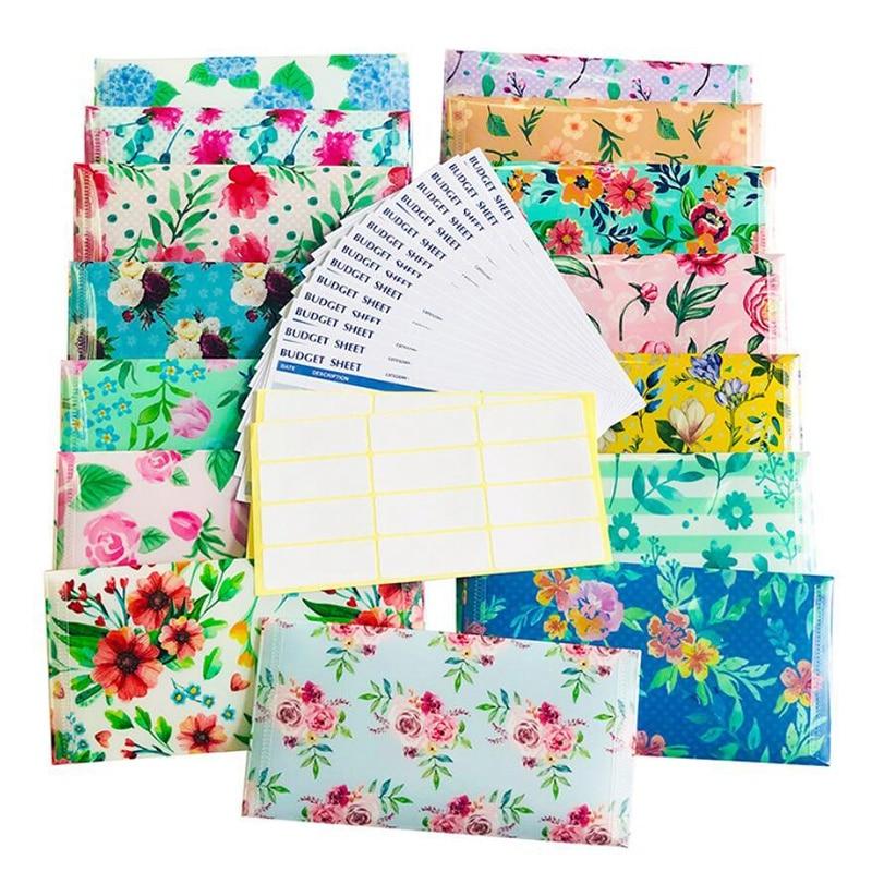 15Pcs Creative Budget Sheet Cash Envelopes Floral Waterproof Budget Envelopes Cash Envelopes for Gift Woman Man
