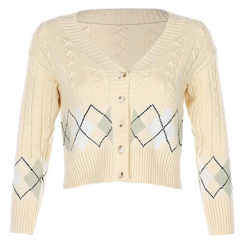 Women 3/4 Sleeve Knitted Cropped Cardigan Argyle V-Neck Button Down Sweater Coat enlarge