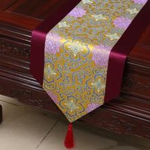 Nappe de table en satin à imprimé floral   Nouveau style européen 2020, chemin de table pour fête de mariage, décoration dhôtel à domicile, textile de maison
