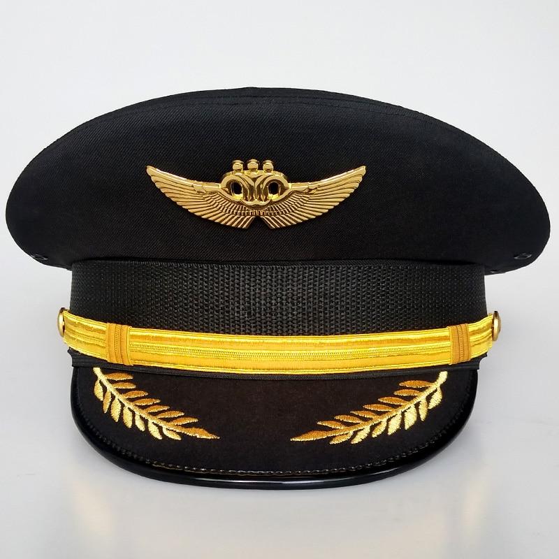 قبعة كبيرة الكابتن موحدة قبعة الطيار قبعة الطيران المدني قبعة كبيرة الفاسناتور القبعات قطع زينة للنساء أنيقة واسعة قبعة لها حواف 2020