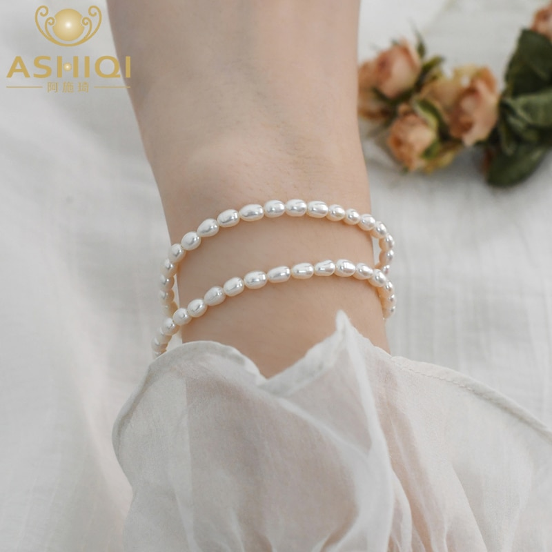 ASHIQI 3-4mm Real natural freshwater pearl bracelet 925 silver bead elastic rope jewelry fashion women natural freshwater exquisite pearl bracelet women jewelry white pearl charms bracelet 925 silver jewelry wedding gift