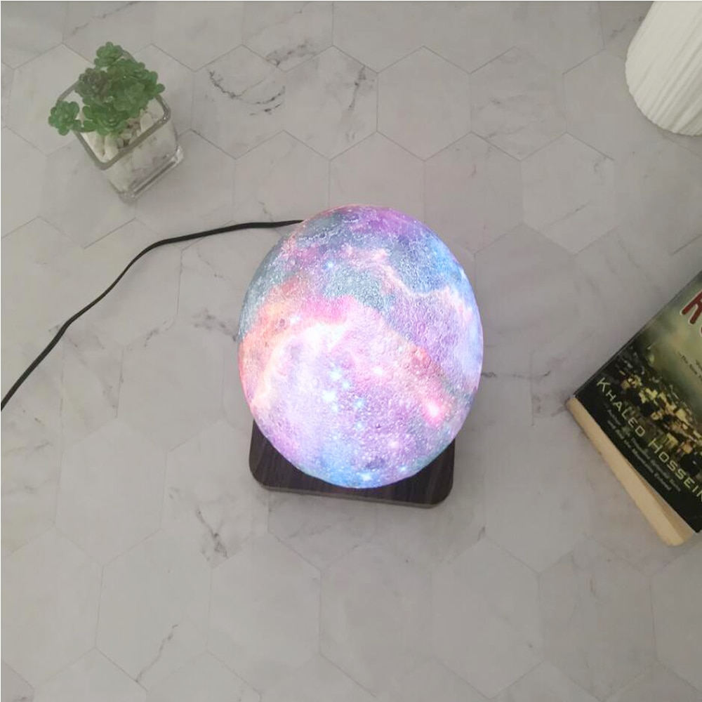 LED Creative 3D Print Magnetic Levitation Galaxy Night Light Rotating LED Floating Desk Lamp For Home Table Decoration Gift enlarge
