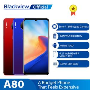 Blackview A80 Quad Rear Camera Android 10,0 Go мобильный телефон 6,21 'водонепроницаемый HD экран 2 Гб + 16 Гб мобильный телефон 4200 мАч 4G смартфон