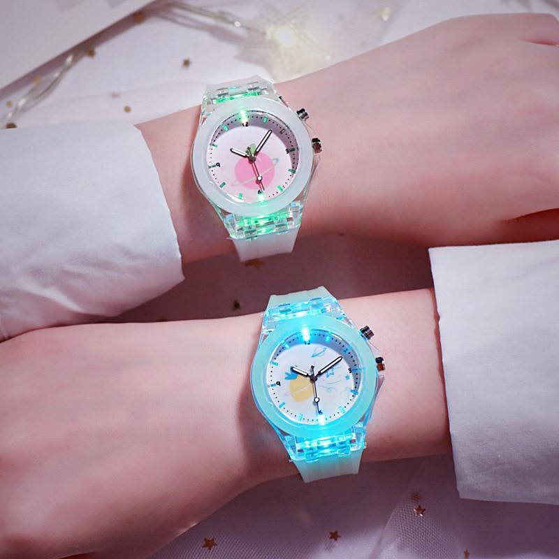 Reloj Digital luminoso LED para mujer, relojes deportivos informales impermeables para mujer, reloj de pulsera electrónico de silicona, reloj femenino