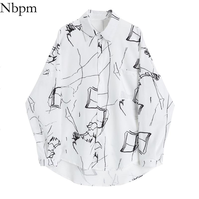 Nbpm 2021 Fashion Women Art Print Blouses Spring Women's Clothing Long Sleeve Top Female Shirt Blusas Mujer Vintage Elegant Tops