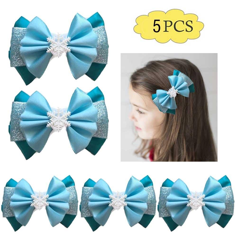 Envío Gratis 5 uds arcos de pelo de princesa F copos de nieve clips de pelo inspirado invierno accesorios de pelo de niña de dibujos animados