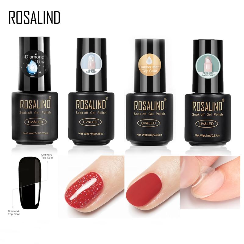 AliExpress - ROSALIND Base For Nails Gel Polish Hybrid Laser Top Matt Coat Semi Permanent UV Varnish For Manicure Soak Off Primer Lacquer 7ML
