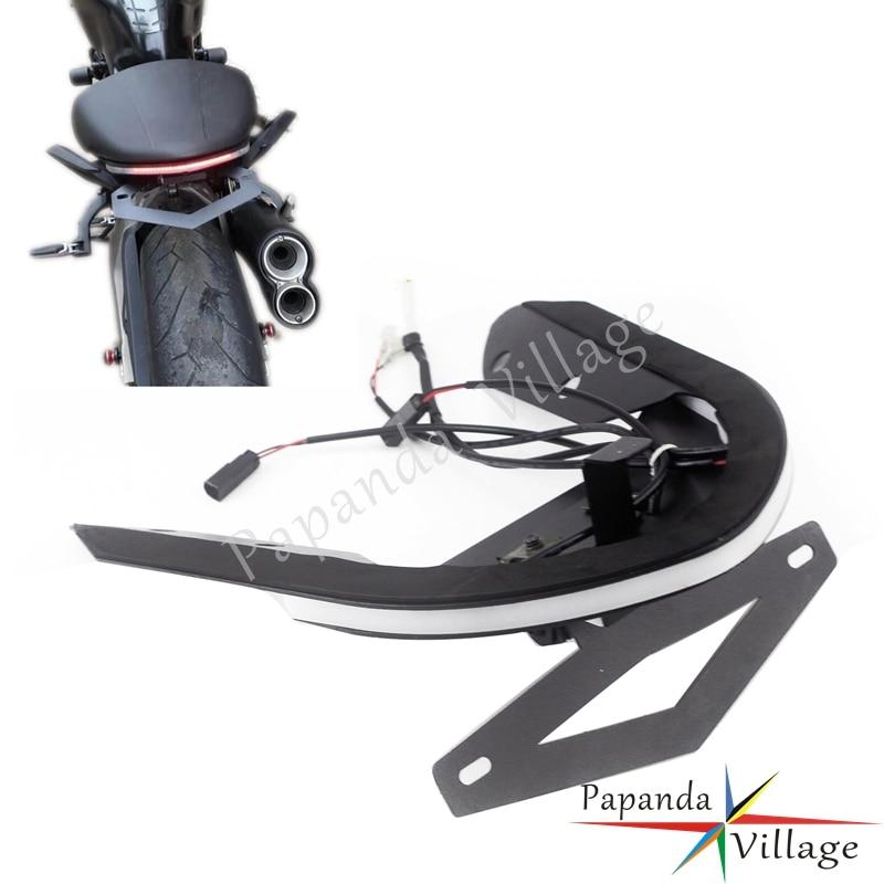 Luz de freno estroboscópica de conmutación LED, Tidty eliminador de guardabarros trasero, soporte de placa de matrícula, Kit completo para Ducati Monster 1200/S 821