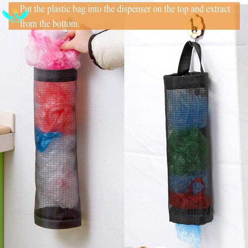 Titular de la bolsa de plástico de malla de colgando dispensadores para almacenar almacén colgante plegable bolsa de bolsas de basura del organizador titular de DWH5