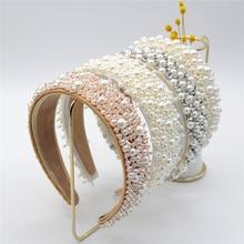 Fascia per capelli imitazione perla fatta a mano donna elegante bianco perla piena perline fascia da sposa corona per capelli accessori per capelli matrimonio