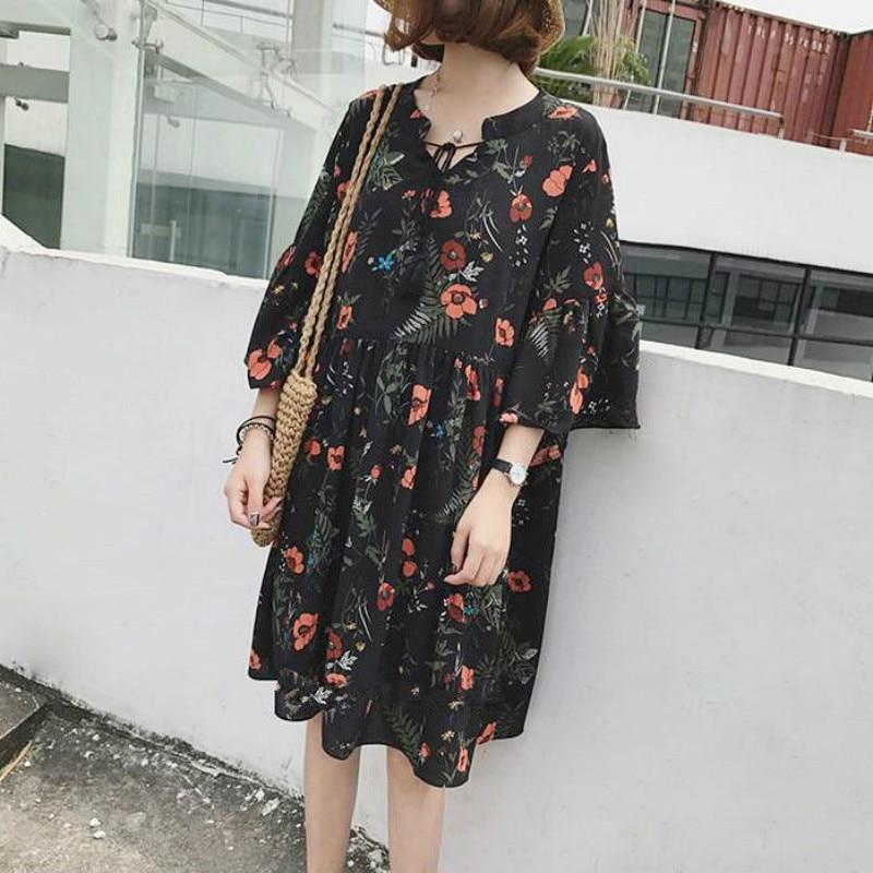 Vintage meia manga flor floral vestido preto elegante vestidos casuais solto ruffle vestido feminino