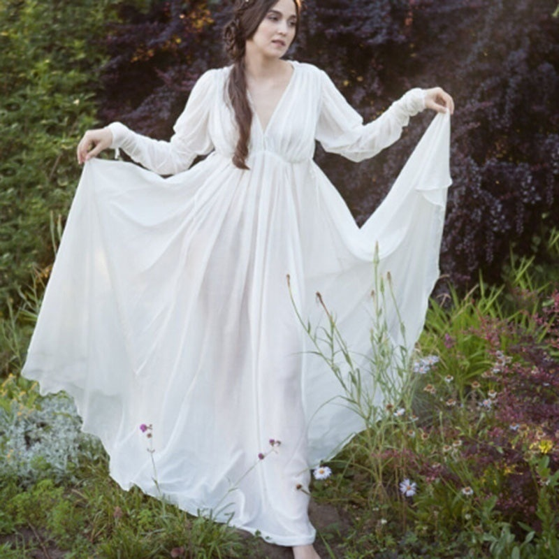 Women Medieval Fairy Costume Maxi Dress Style Renaissance Long Sheer Dress V Cut Neck Women Wedding Gown Floor Length White