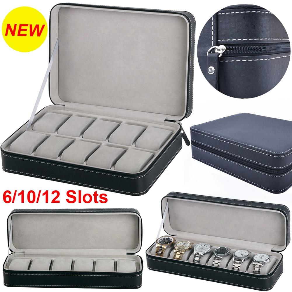 6/10/12 Slots Portable Leather Watch Box Your Watch Good Organizer Jewelry Storage Box Zipper Easy Carry Men Watch Box New D40