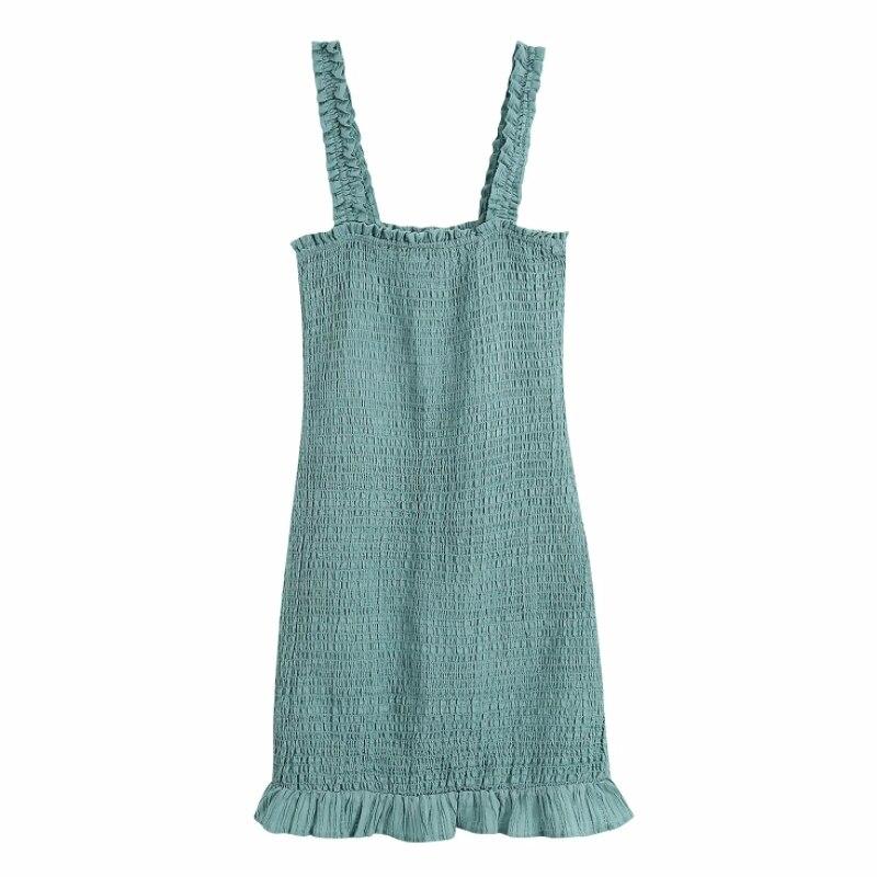 الصيف النساء الأخضر الجاكار مطاطا سليم الحمالات فستان قصير الإناث أكمام ملابس عادية سيدة Vestido D7675