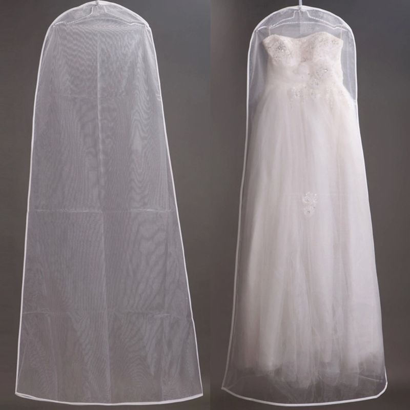 160cm organdy semi transparente vestido de casamento a line capa dustproof vestido de noiva saco de armazenamento dobrável vestuário roupas caso proteger