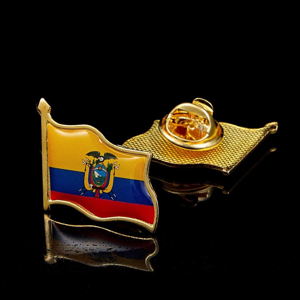 Bandeira do equador acenando epóxi chapeado ouro chapéu/saco/lapela pino broche atacado orgulho feito na china