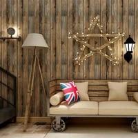 1pcs pvc 3d wood grain wall stickers home decor paper brick stone wallpaper rustic effect self adhesive sticker room