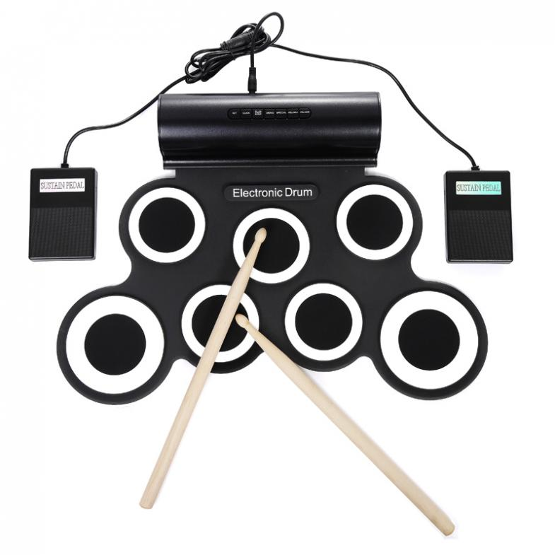 Roll Up Electronic Drum Set 7 Silicon Pads Built-in Speaker with Drumsticks Sustain Pedal Support USB MIDI 2 Colors Optional enlarge