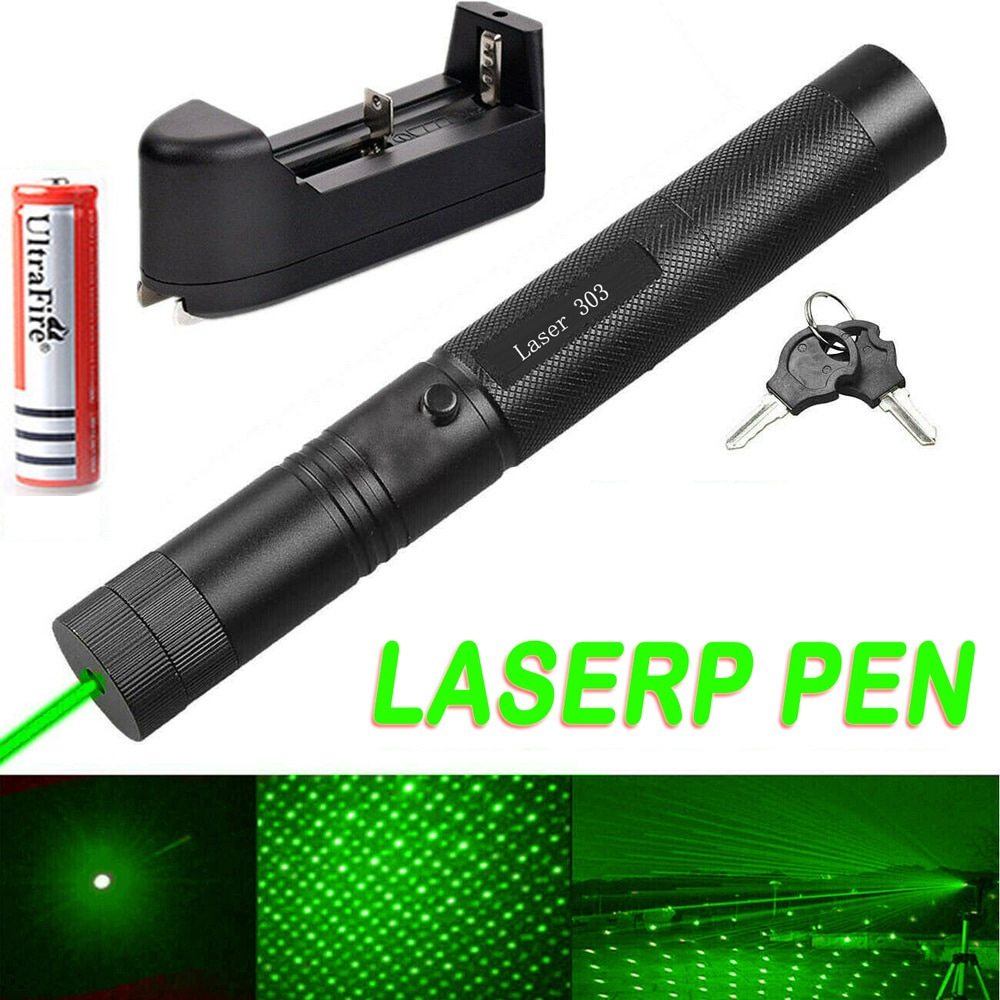 High Power Green Laser Pointer powerful laserpointer Charge laser 303 Light 532nm 5mw burning matches Device Lazer Pen
